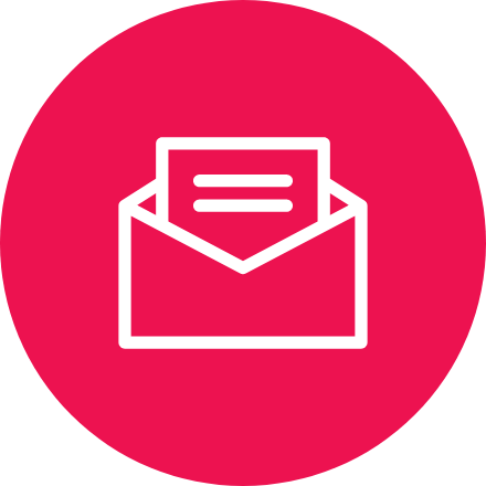 Pink circular icon of an envelope with a letter coming out.