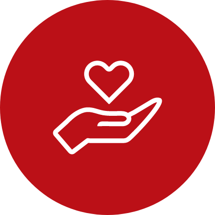 Red circular icon of hand with heart floating above it.